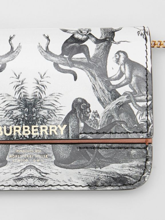 Monkey Print Leather Card Case with Chain Strap in Black/white | Burberry Australia - cell image 1