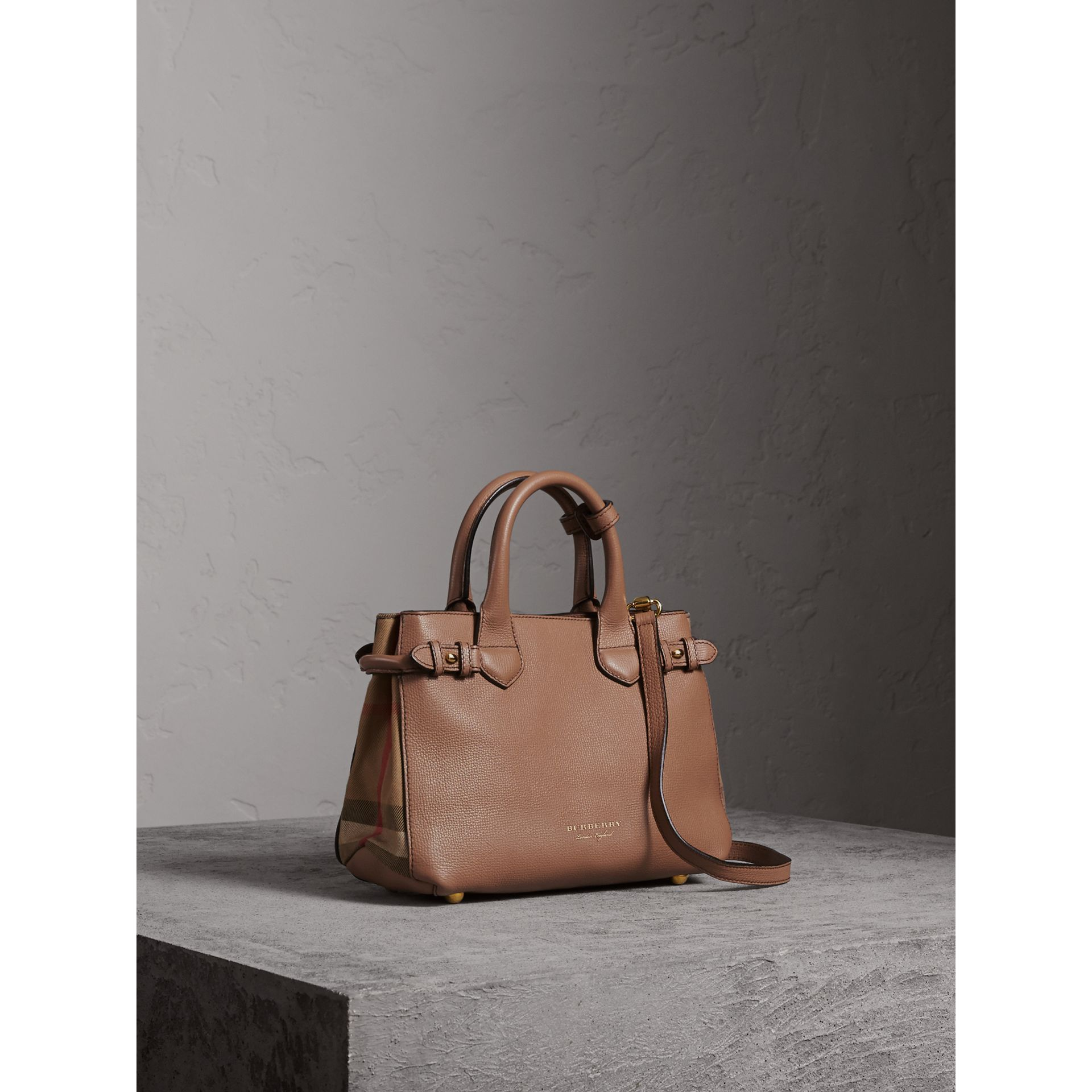 The Small Banner in Leather and House Check in Dark Sand - Women | Burberry Singapore - gallery image 1