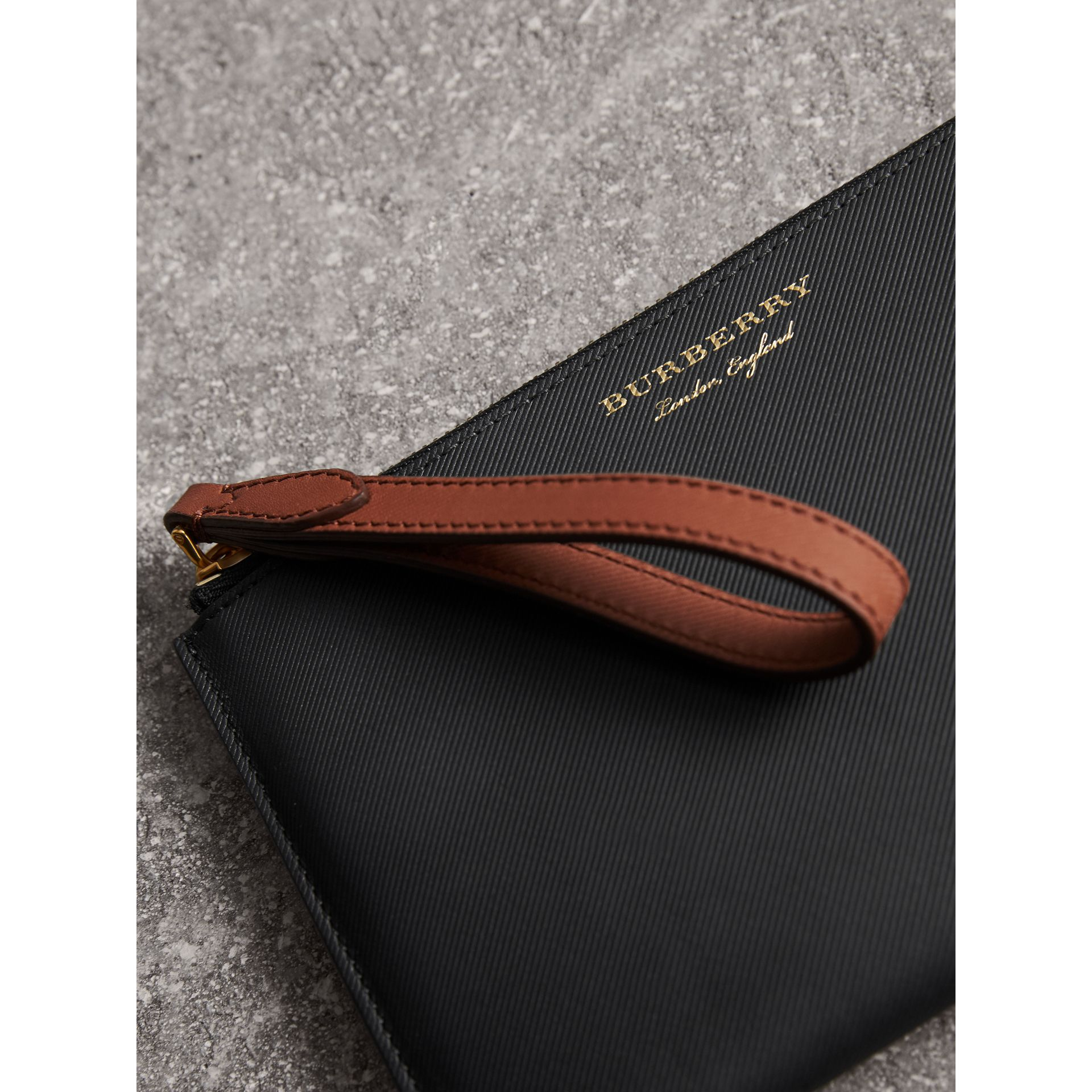 Two-tone Trench Leather Travel Wallet in Black - Men | Burberry - gallery image 1