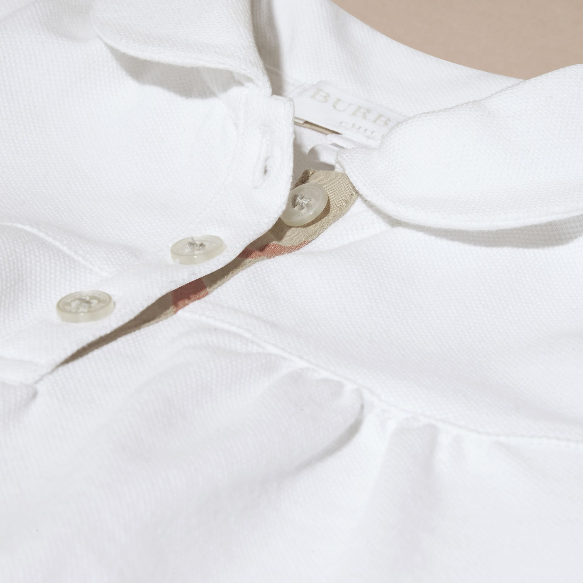 White Ruched Detail Stretch Cotton Polo Shirt White - gallery image 2