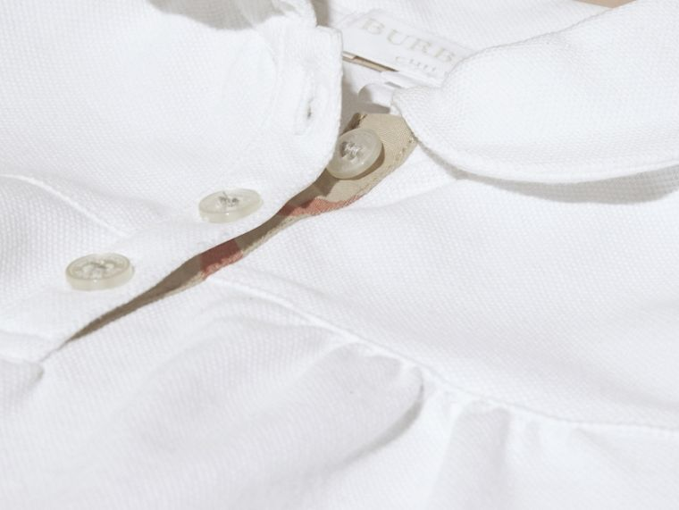 White Ruched Detail Stretch Cotton Polo Shirt White - cell image 1