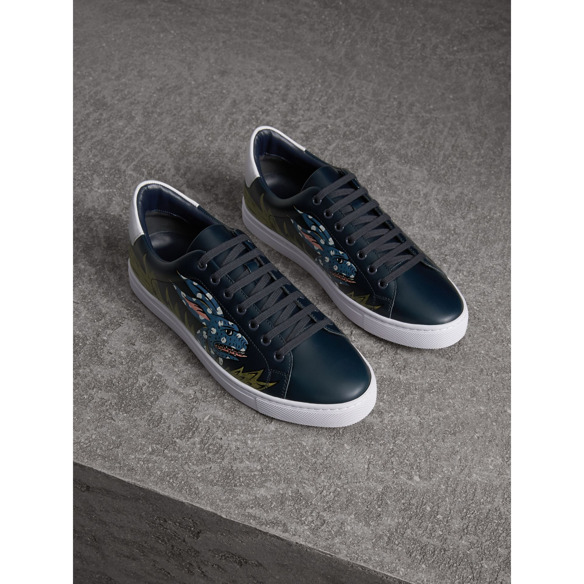Beasts Print Leather Trainers in Navy - Men | Burberry Canada - gallery image 1