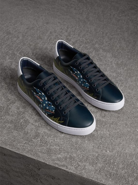 Beasts Print Leather Trainers in Navy | Burberry