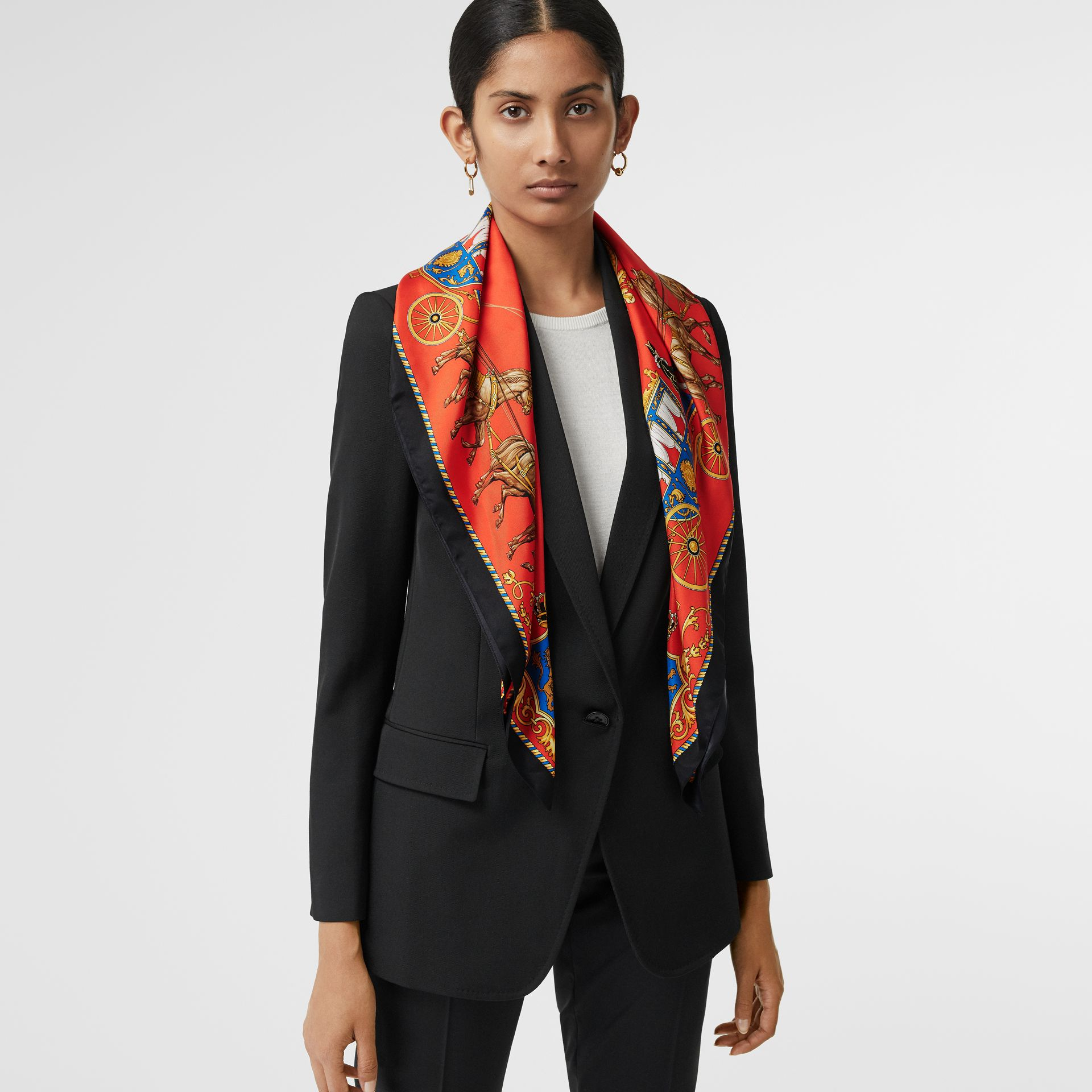 Archive Scarf Print Silk Square Scarf in Bright Red | Burberry - gallery image 4