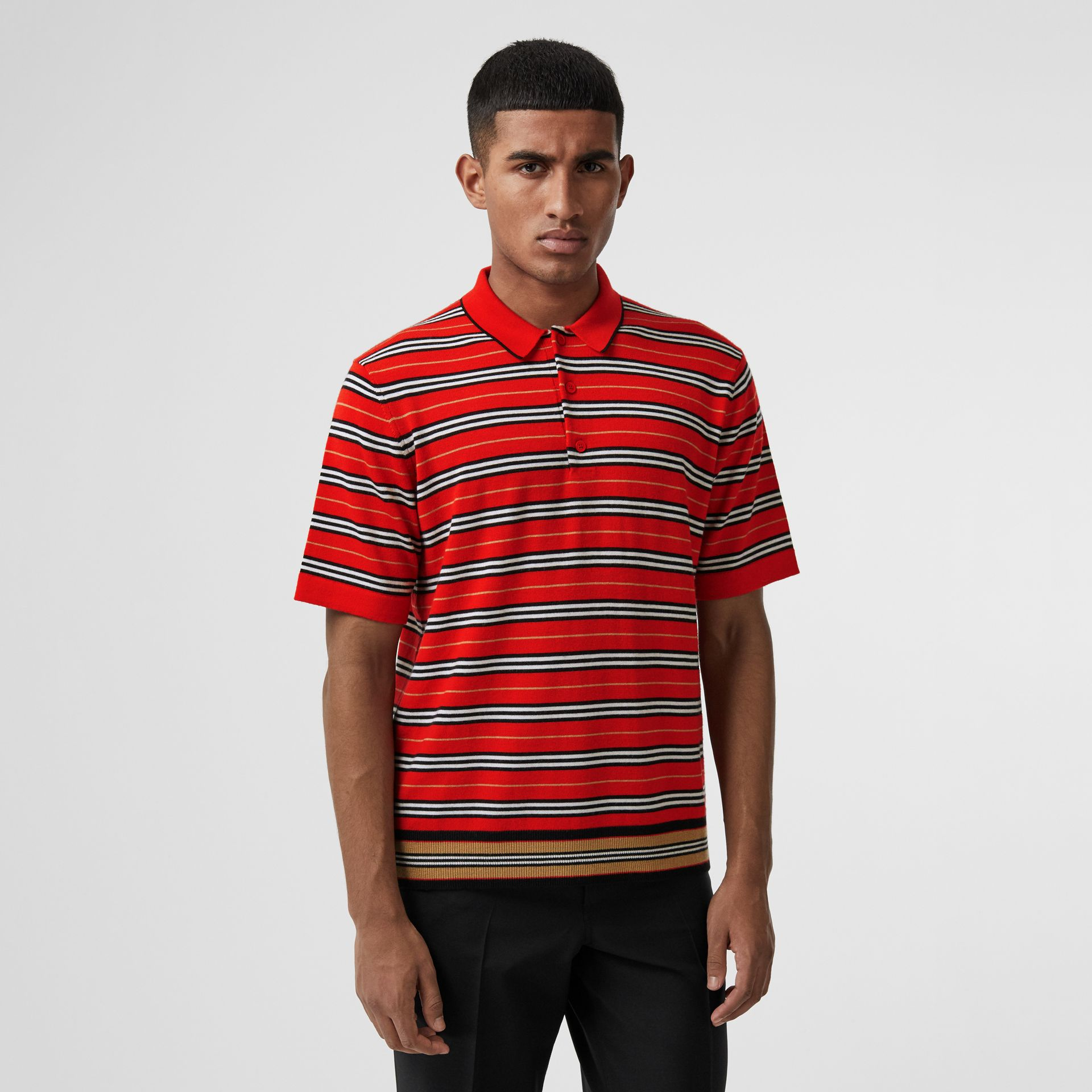 Contrast Stripe Merino Wool Polo Shirt in Bright Red - Men | Burberry - gallery image 4