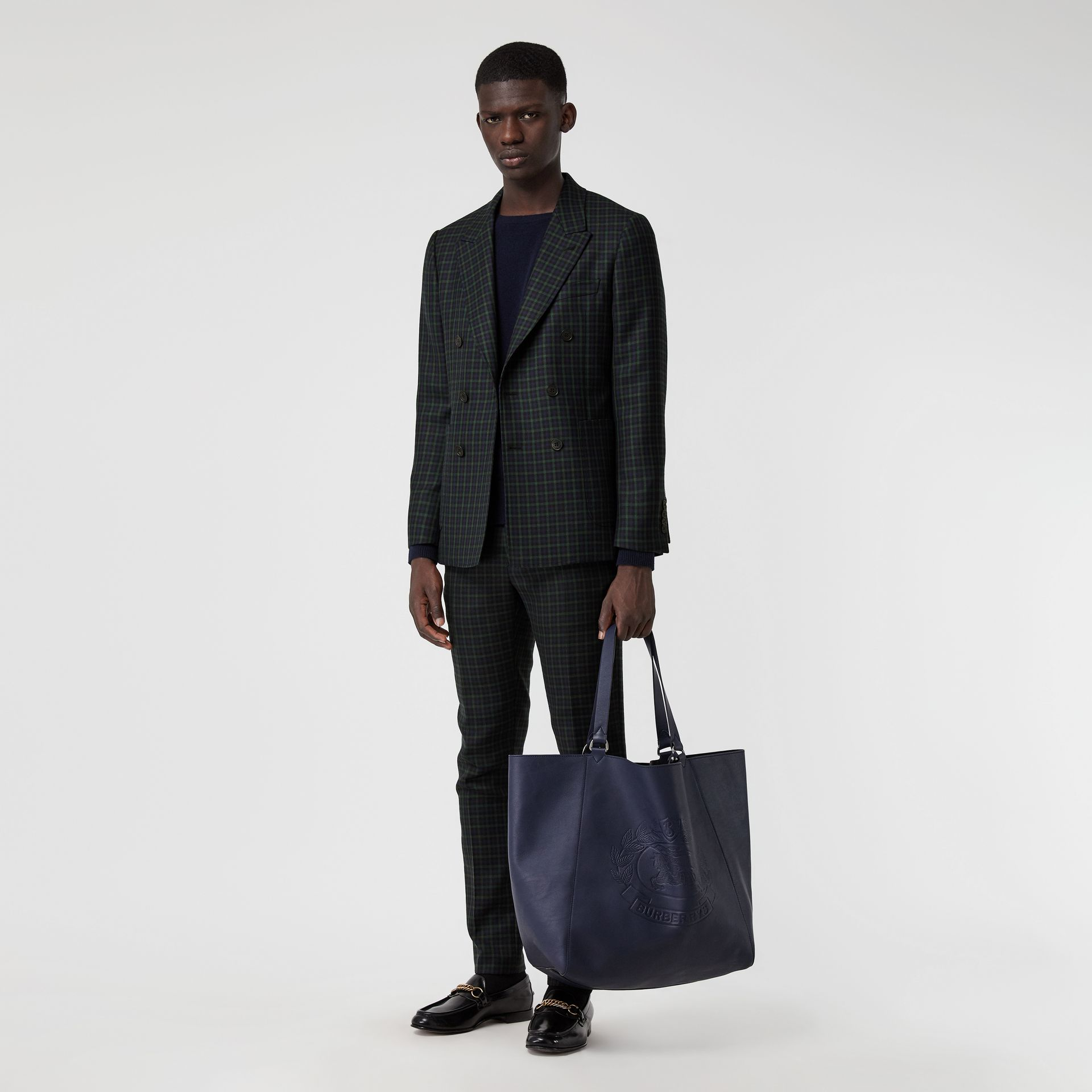 Large Embossed Crest Bonded Leather Tote in Regency Blue - Men | Burberry United States - gallery image 3