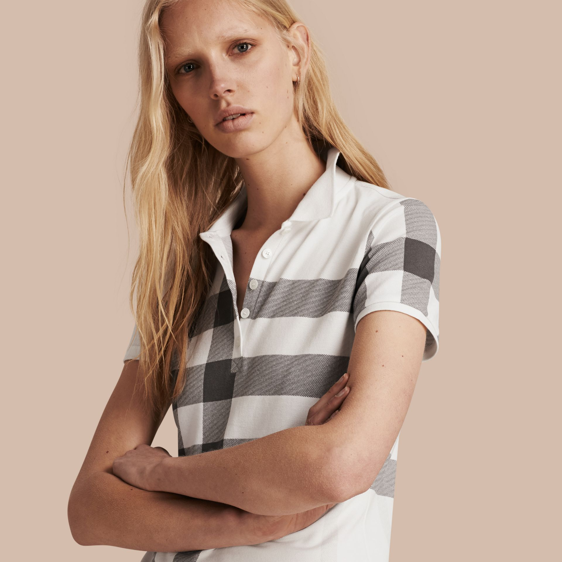 White Check Stretch Cotton Piqué Polo Shirt White - gallery image 1