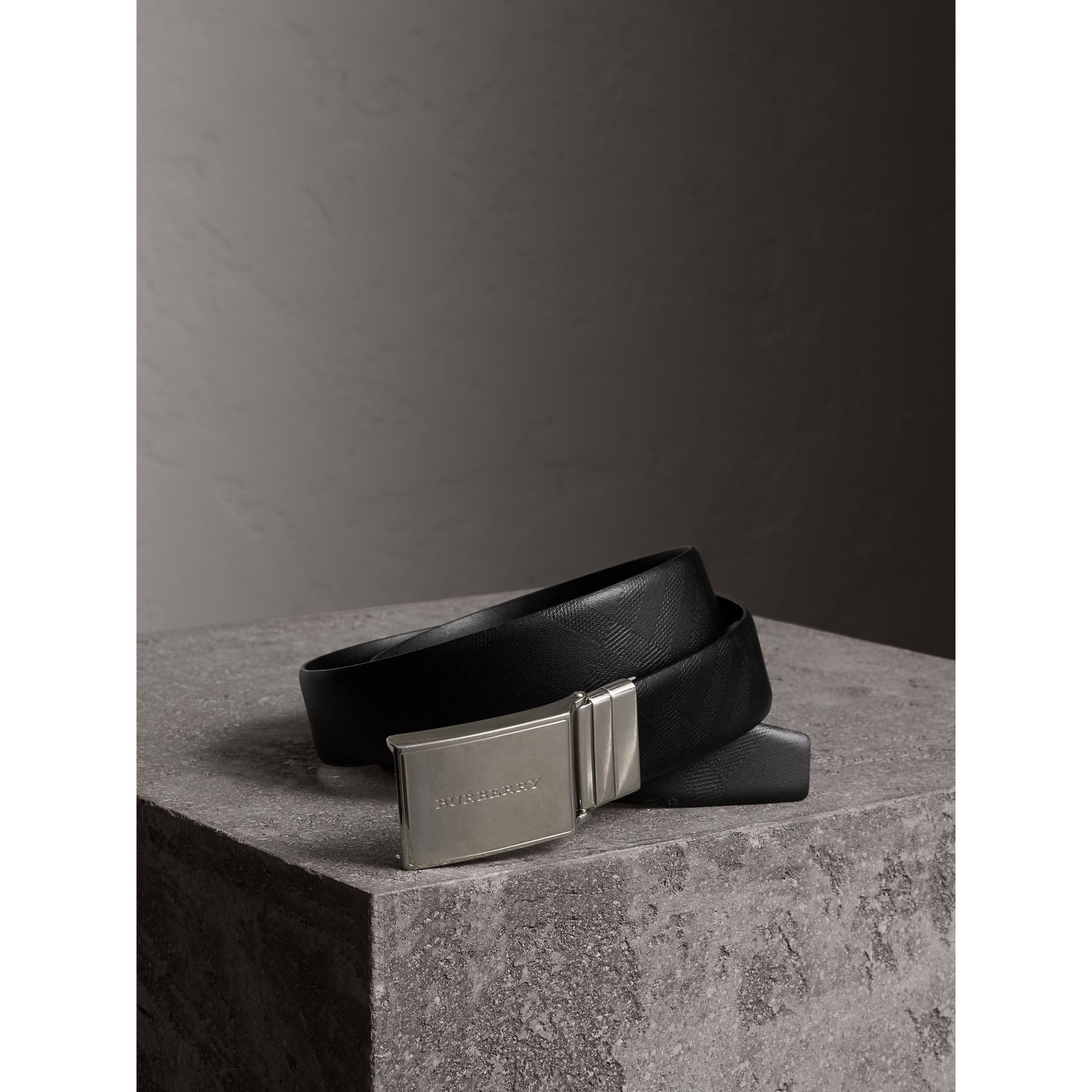 Reversible Check Embossed Leather Belt in Black - Men | Burberry - gallery image 1