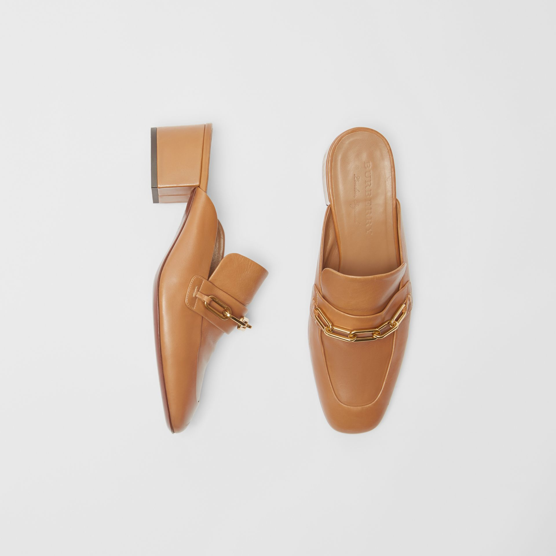 Link Detail Leather Block-heel Mules in Camel - Women | Burberry Canada - gallery image 0
