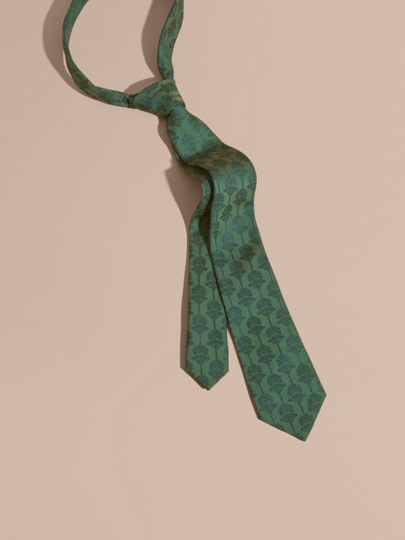 Slim Cut Floral Jacquard Silk Cotton Tie
