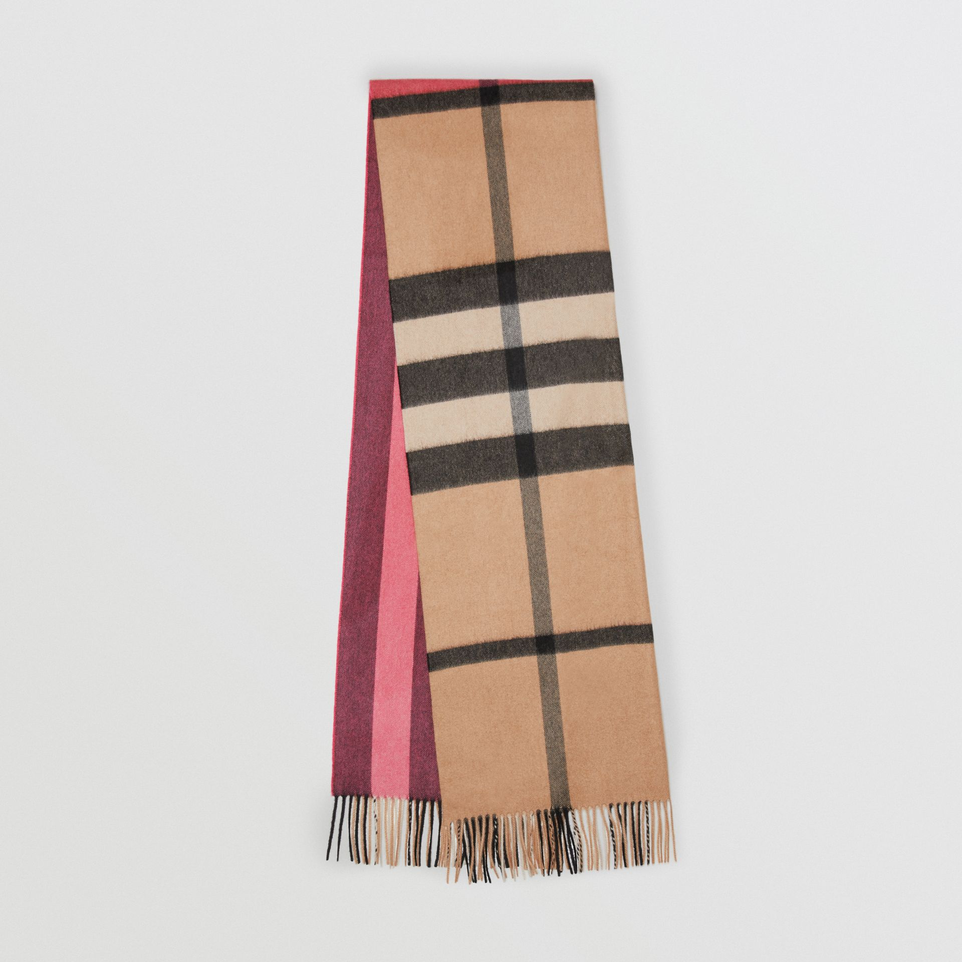 Colour Block Check Cashmere Scarf in Rose Pink | Burberry - gallery image 0