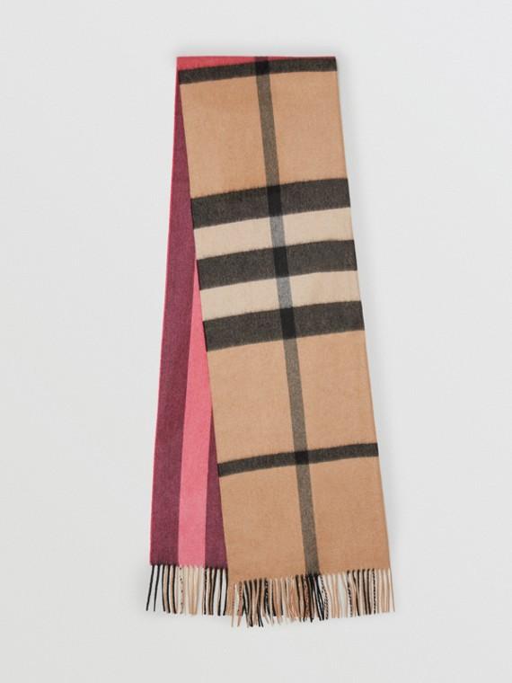 カラーブロックチェック・カシミアスカーフ (ローズピンク)