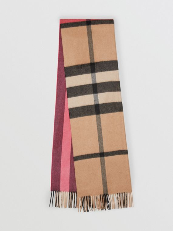 Bufanda en cachemir a cuadros y rayas (Rosa Real)