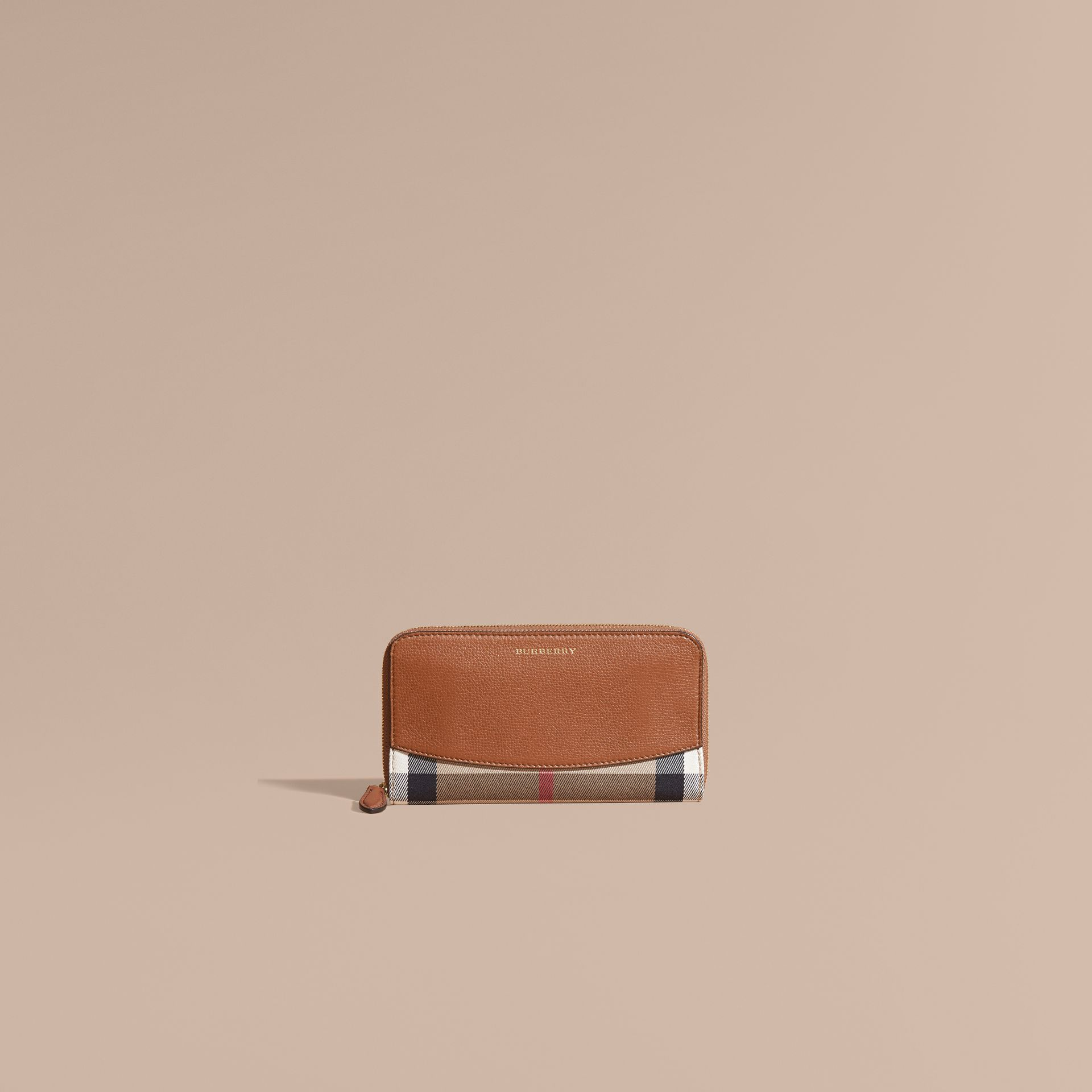 Brown ochre House Check and Leather Ziparound Wallet Brown Ochre - gallery image 2