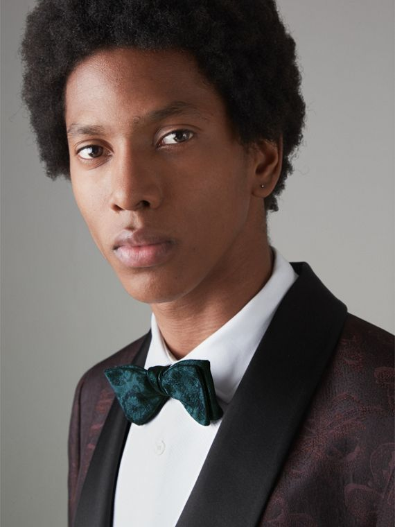 Floral Silk Jacquard Bow Tie in Dark Teal