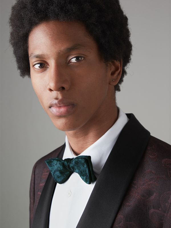Floral Silk Jacquard Bow Tie in Dark Teal - Men | Burberry United States - cell image 2