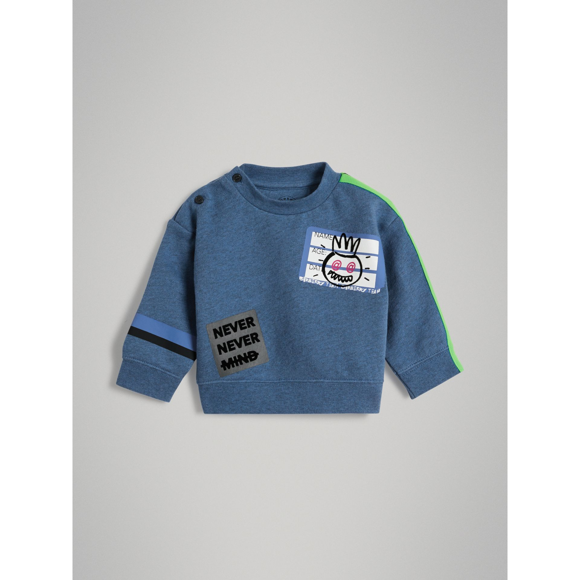 Sticker Print Cotton Sweatshirt in Blue Melange - Children | Burberry - gallery image 0