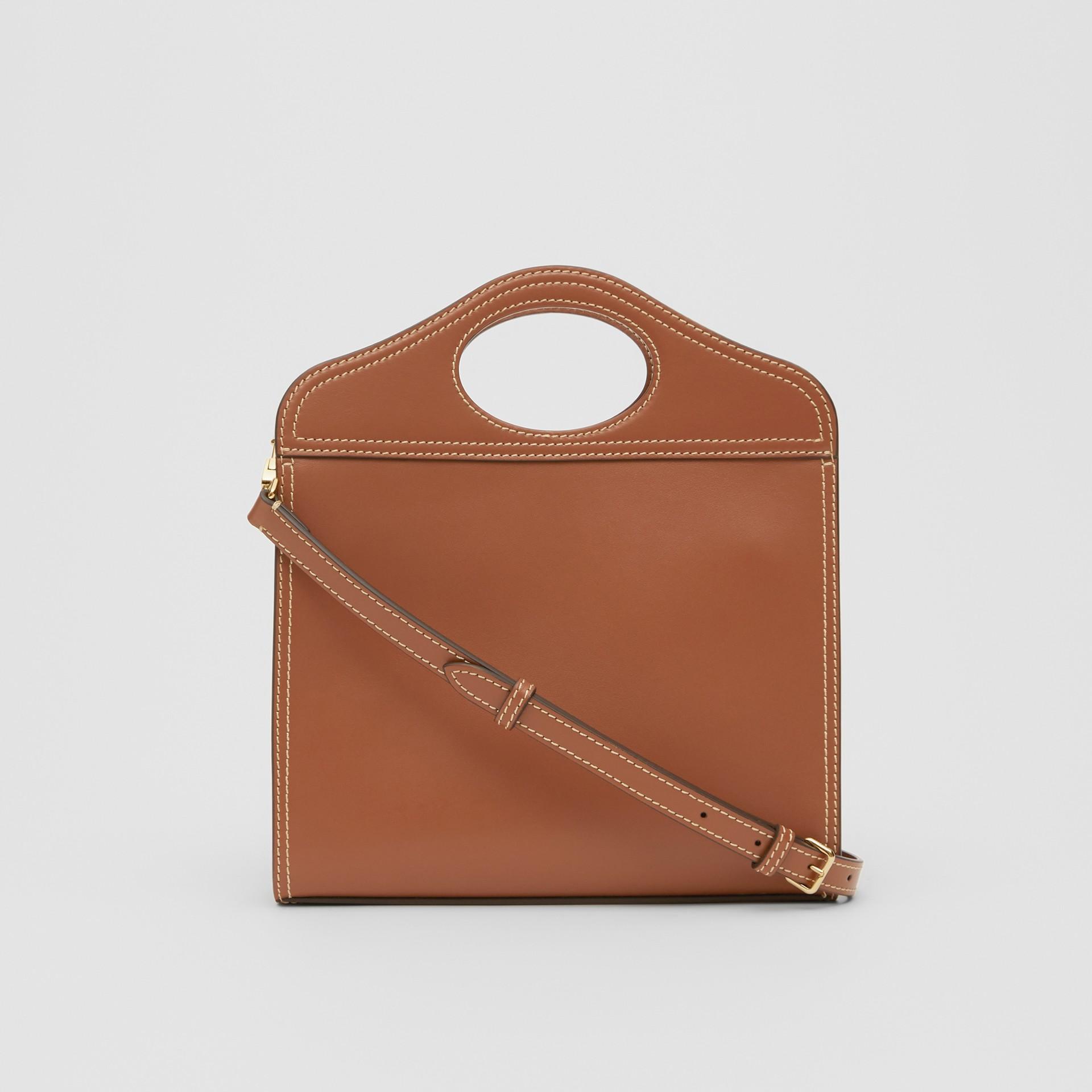 Mini Topstitch Detail Leather Pocket Bag in Malt Brown - Women | Burberry United Kingdom - gallery image 6