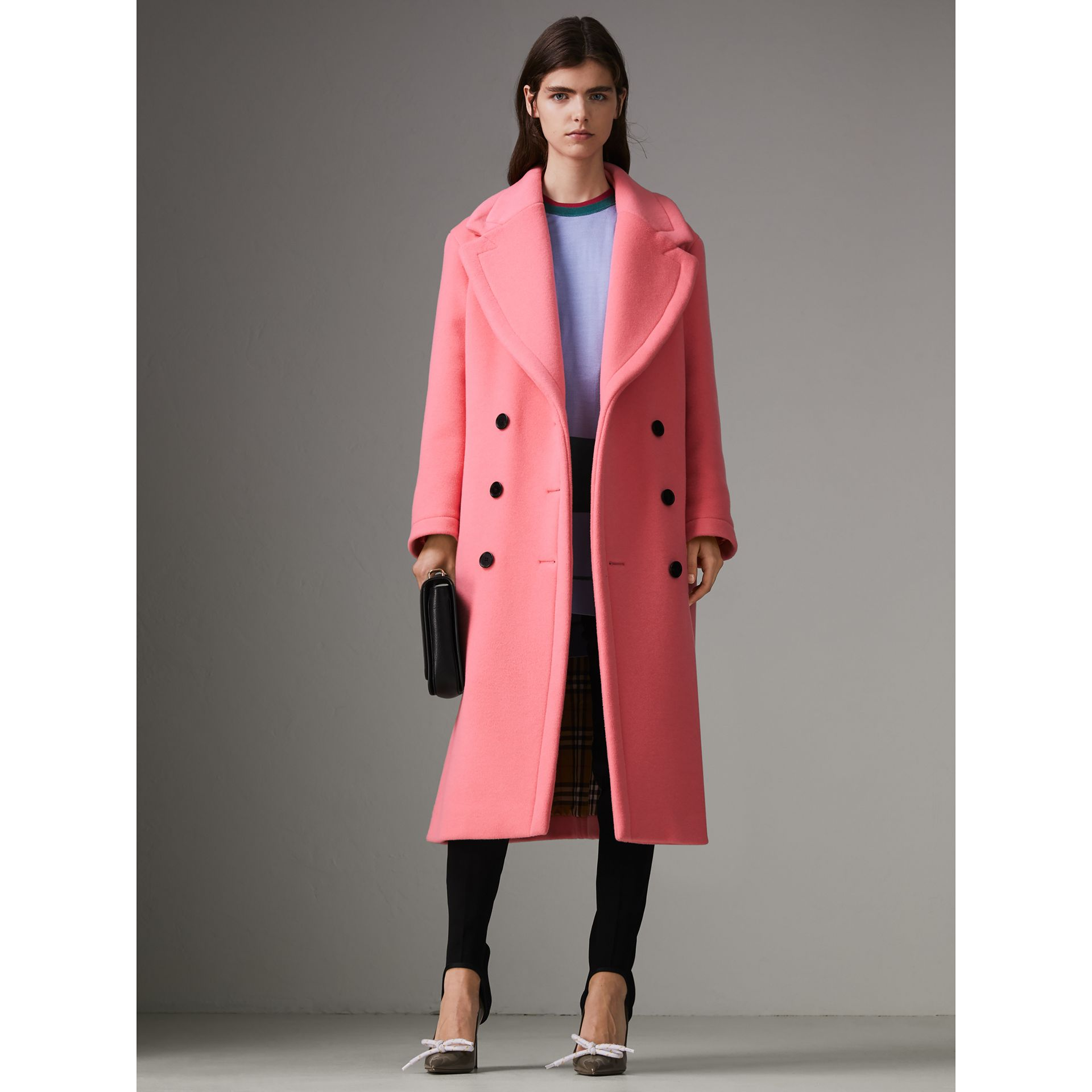 Double-faced Wool Cashmere Oversized Coat in Bright Coral Pink | Burberry - gallery image 6