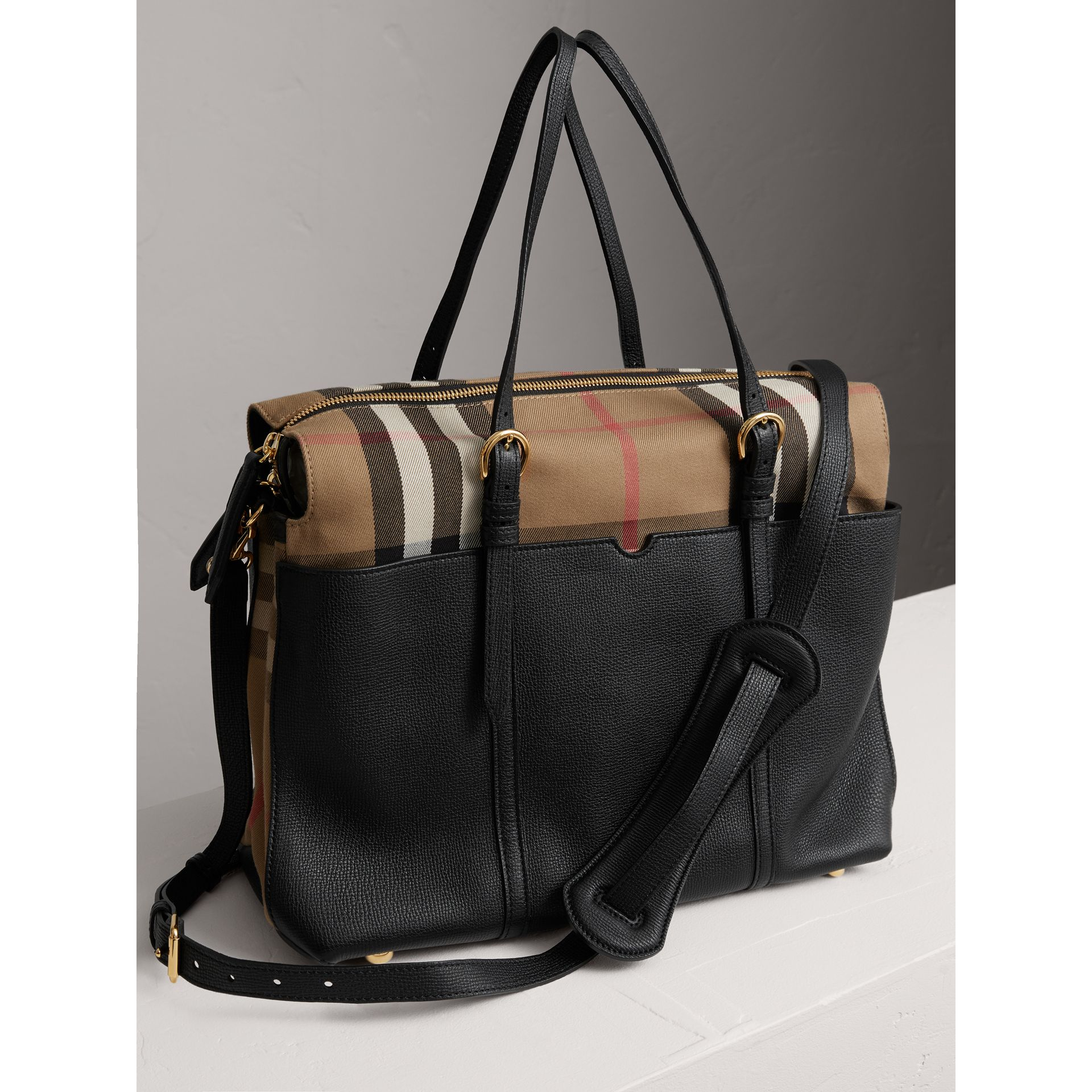 House Check and Leather Baby Changing Bag in Black | Burberry - gallery image 3