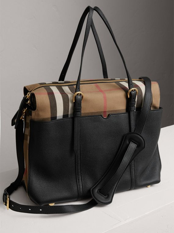 House Check and Leather Baby Changing Bag in Black | Burberry United States - cell image 3