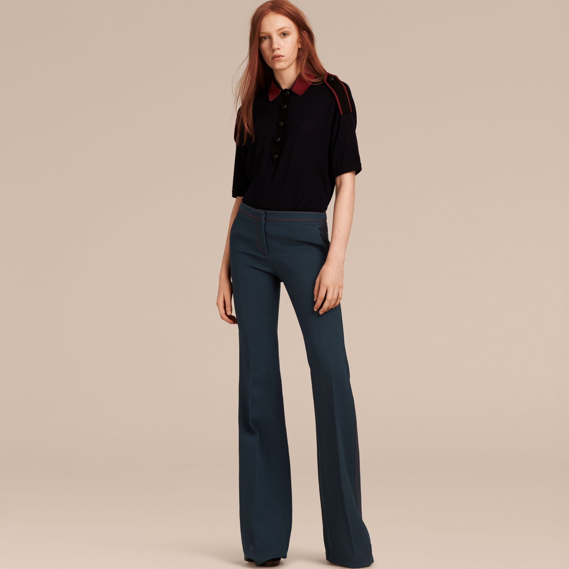Ink blue Wool Silk Boot-cut Trousers - gallery image 6