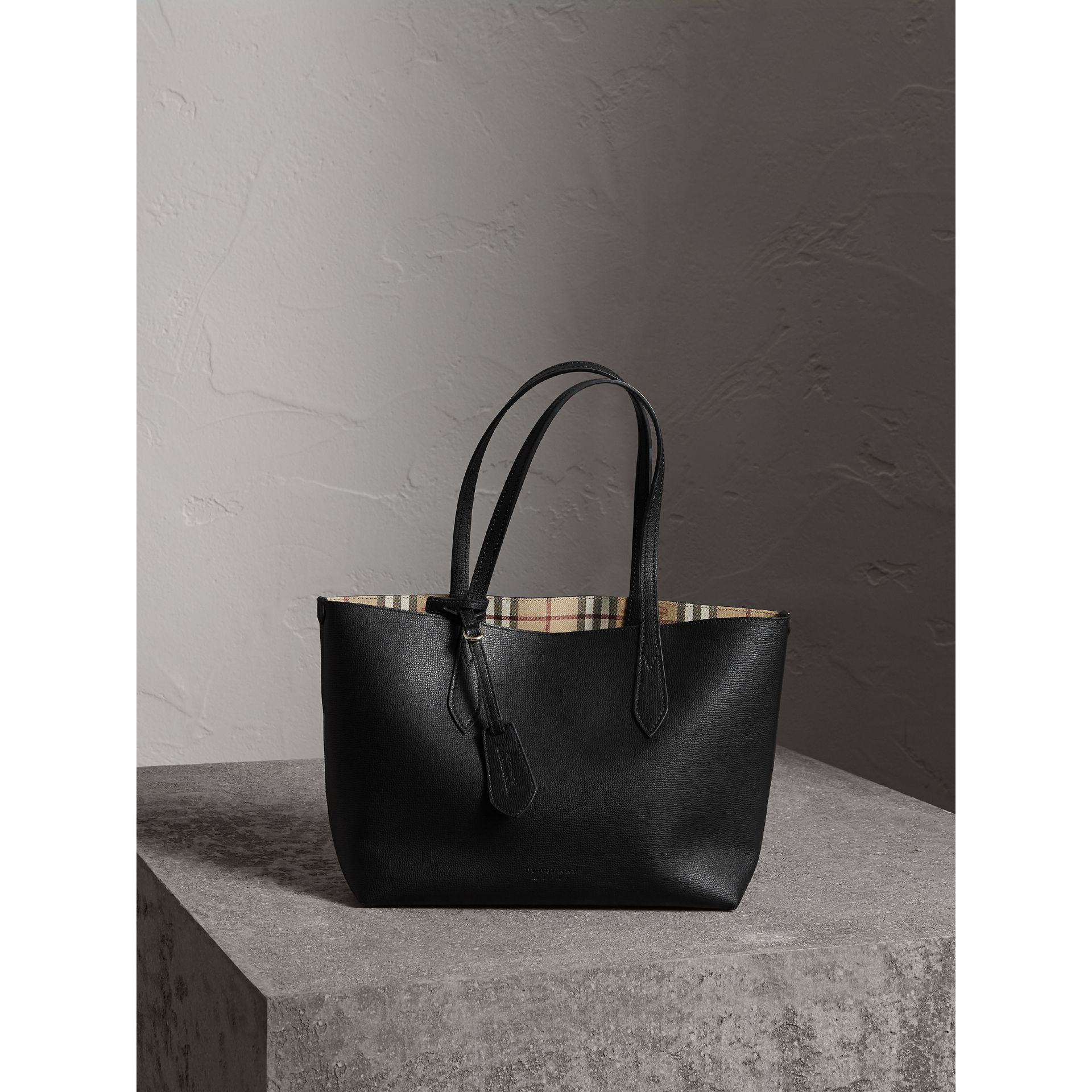 The Small Reversible Tote in Haymarket Check and Leather in Black - Women | Burberry United Kingdom - gallery image 0