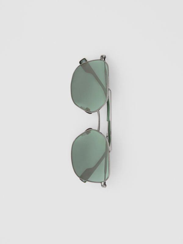 Top Bar Detail Square Pilot Sunglasses in Gunmetal Grey - Men | Burberry United States - cell image 3