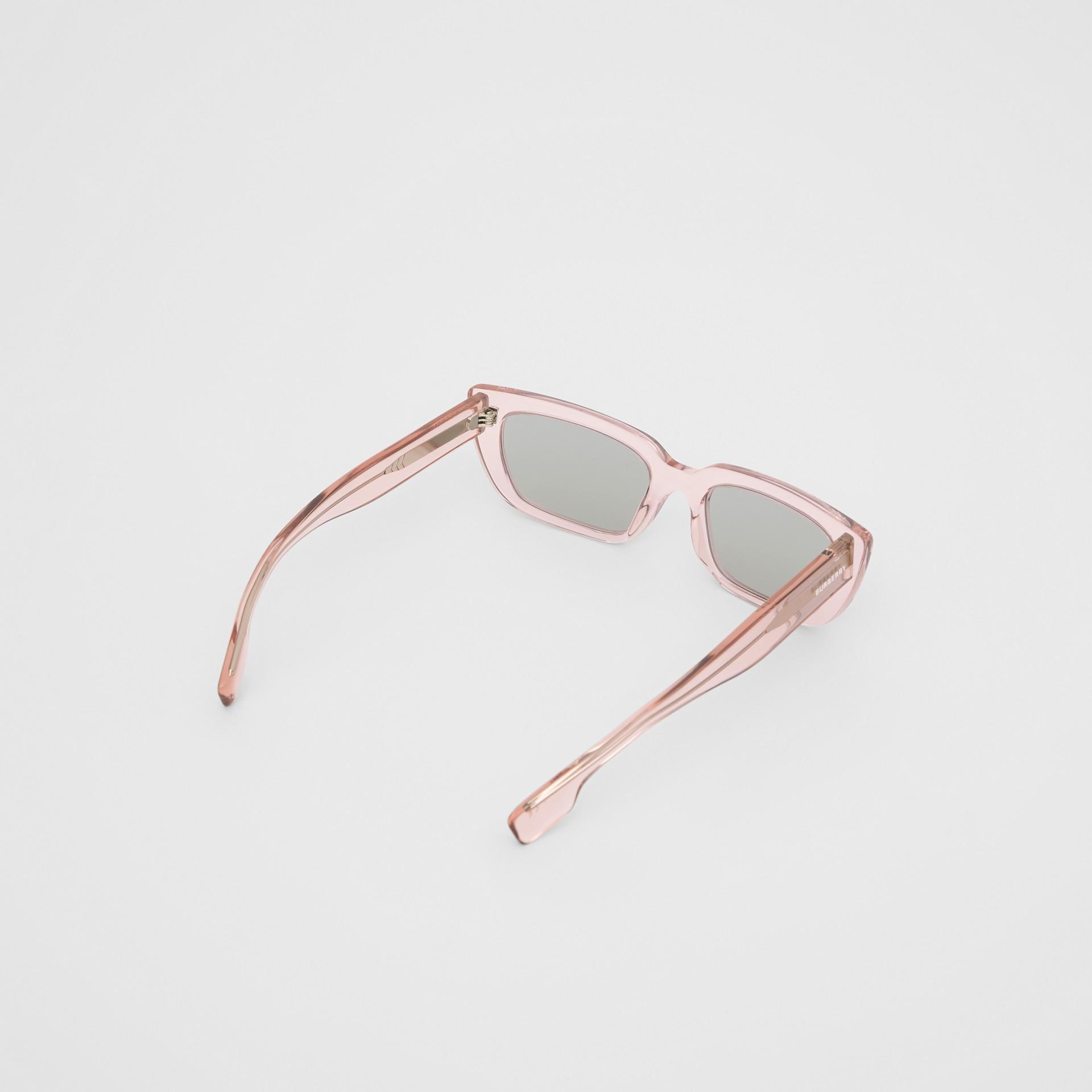 Bio-acetate Rectangular Frame Sunglasses in Light Pink - Women | Burberry - gallery image 4