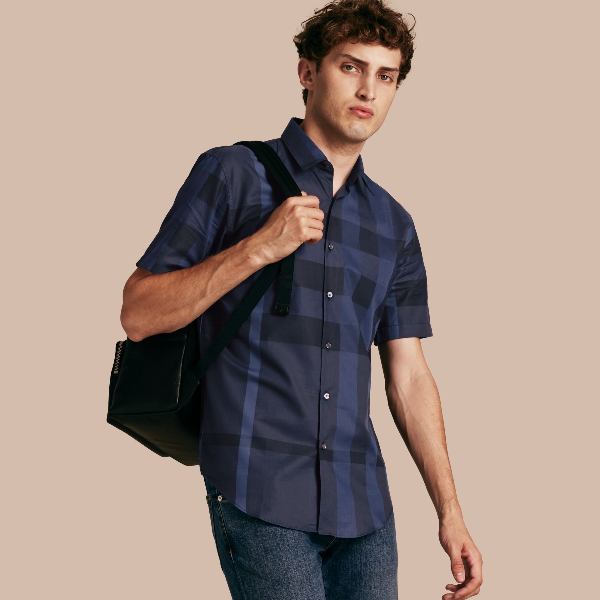 Navy Short-sleeved Check Cotton Shirt Navy - gallery image 1
