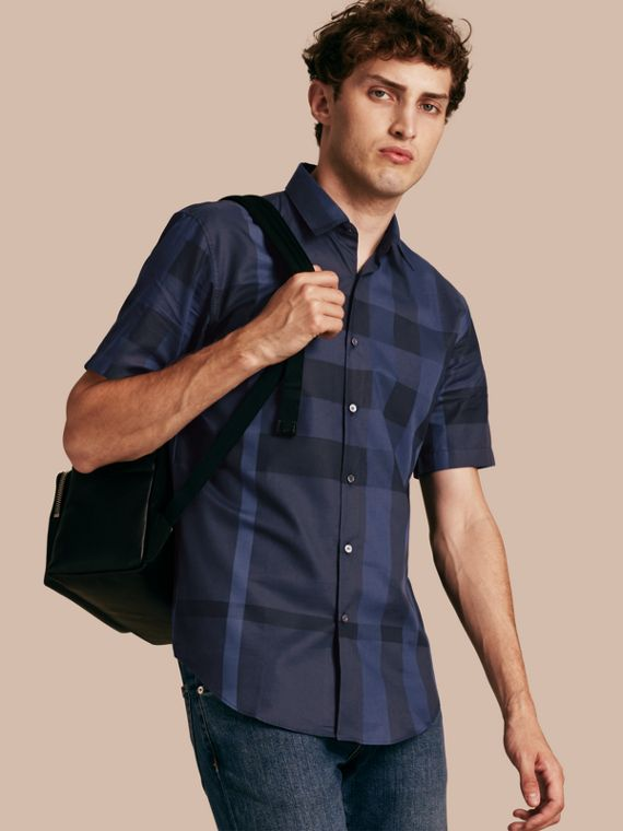 Short-sleeved Check Cotton Shirt Navy