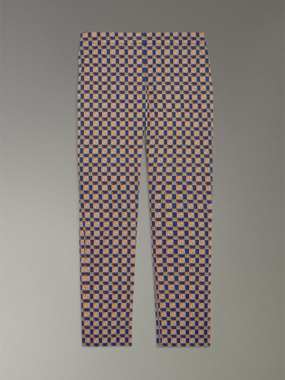 Tiled Archive Print Stretch Cotton Cigarette Trousers in Navy - Women | Burberry United States - cell image 3
