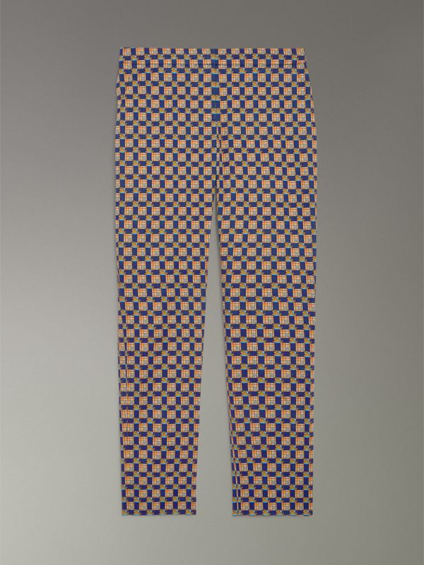 Tiled Archive Print Stretch Cotton Cigarette Trousers in Navy - Women | Burberry Australia - cell image 3