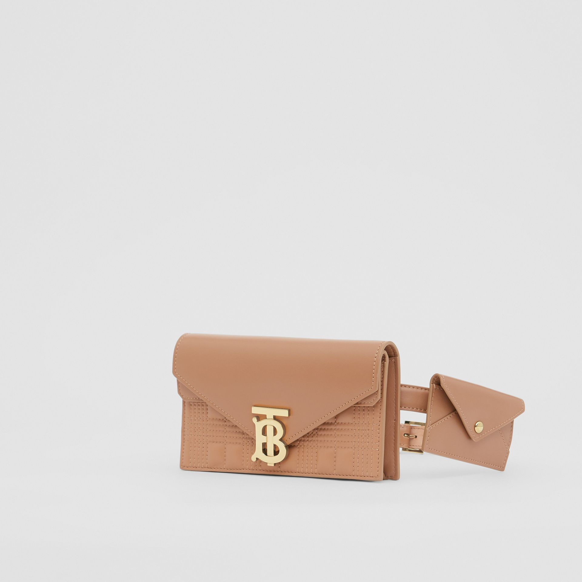 Belted Quilted Lambskin TB Envelope Clutch in Warm Camel - Women | Burberry Canada - gallery image 6