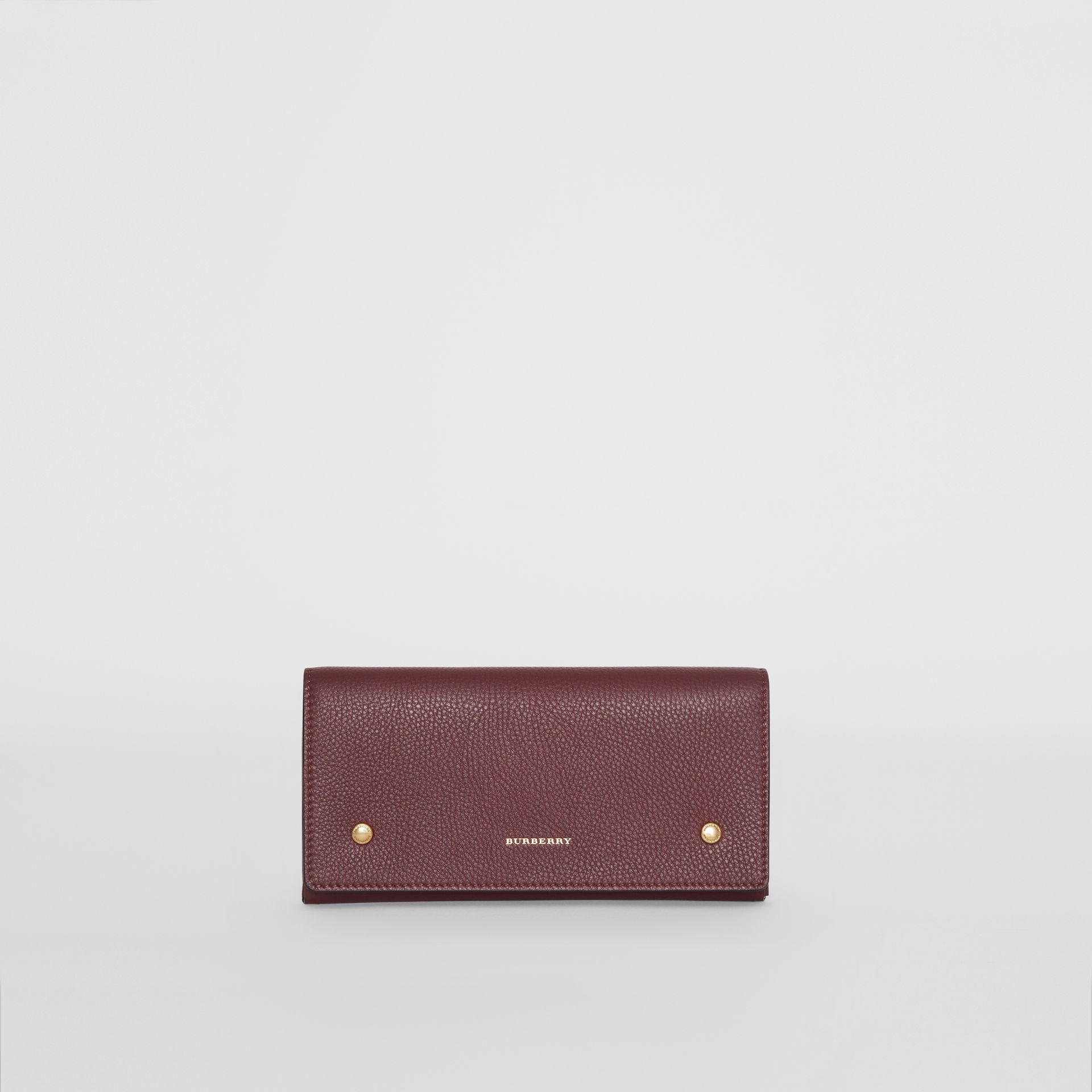 Two-tone Leather Continental Wallet in Deep Claret - Women | Burberry United States - gallery image 0
