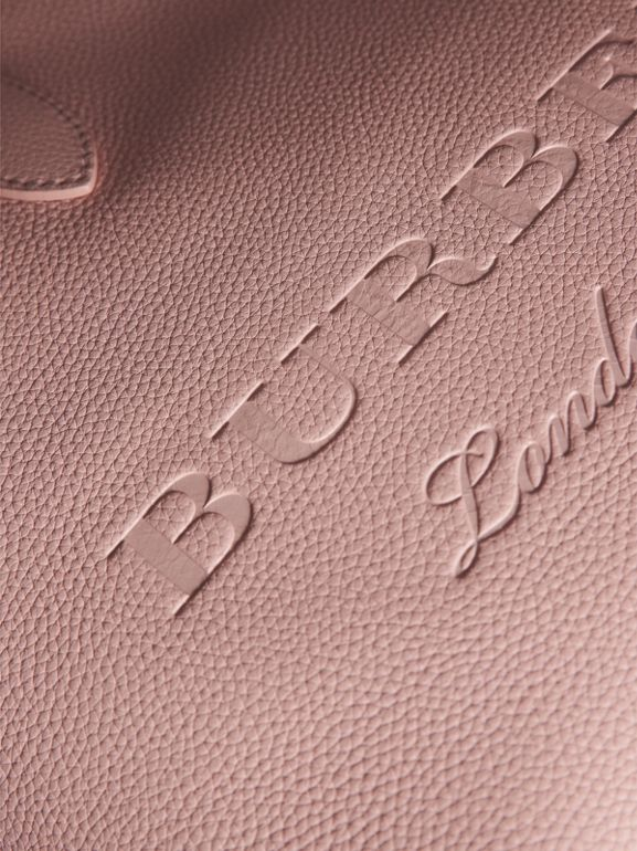 Embossed Leather Tote in Pale Ash Rose | Burberry - cell image 1