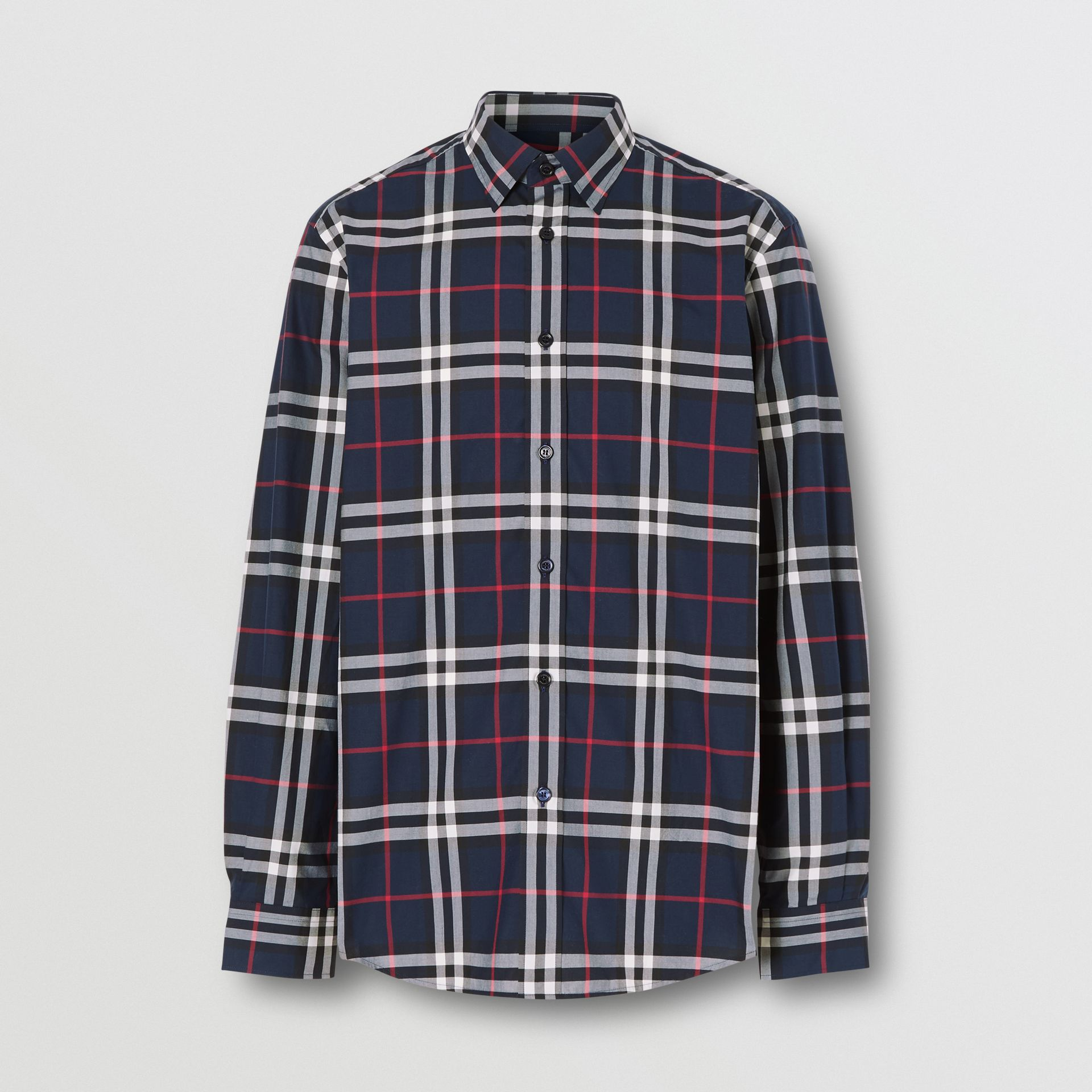 Check Cotton Poplin Shirt in Navy - Men | Burberry - gallery image 3