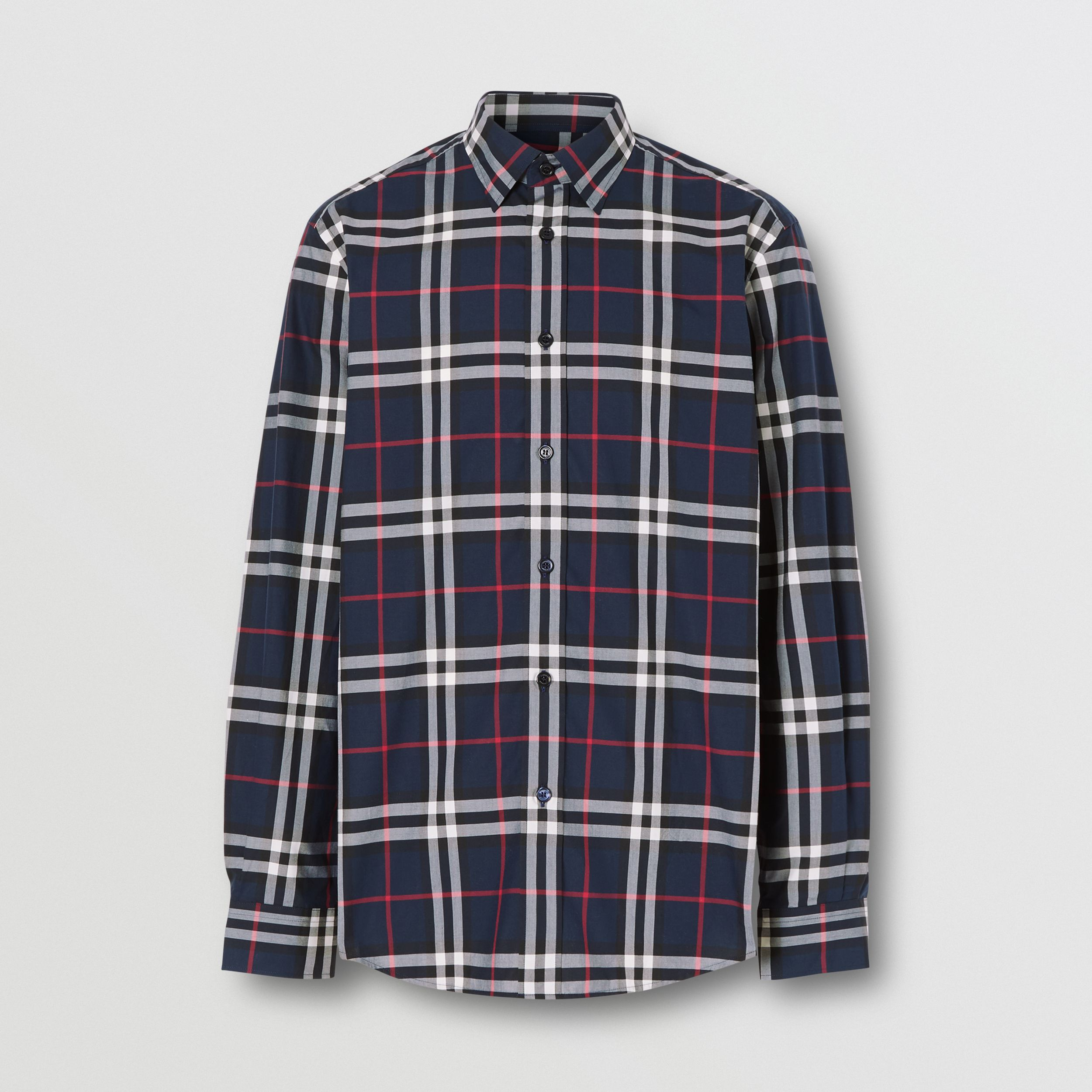 Check Cotton Poplin Shirt in Navy - Men | Burberry - 4