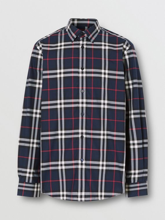 Vintage Check Cotton Poplin Shirt in Navy