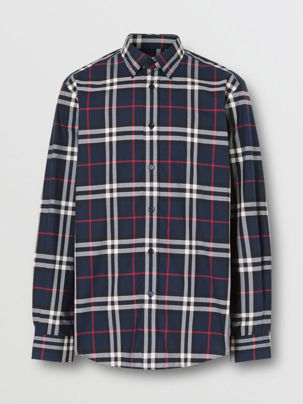 Check Cotton Poplin Shirt in Navy - Men | Burberry Australia - cell image 3