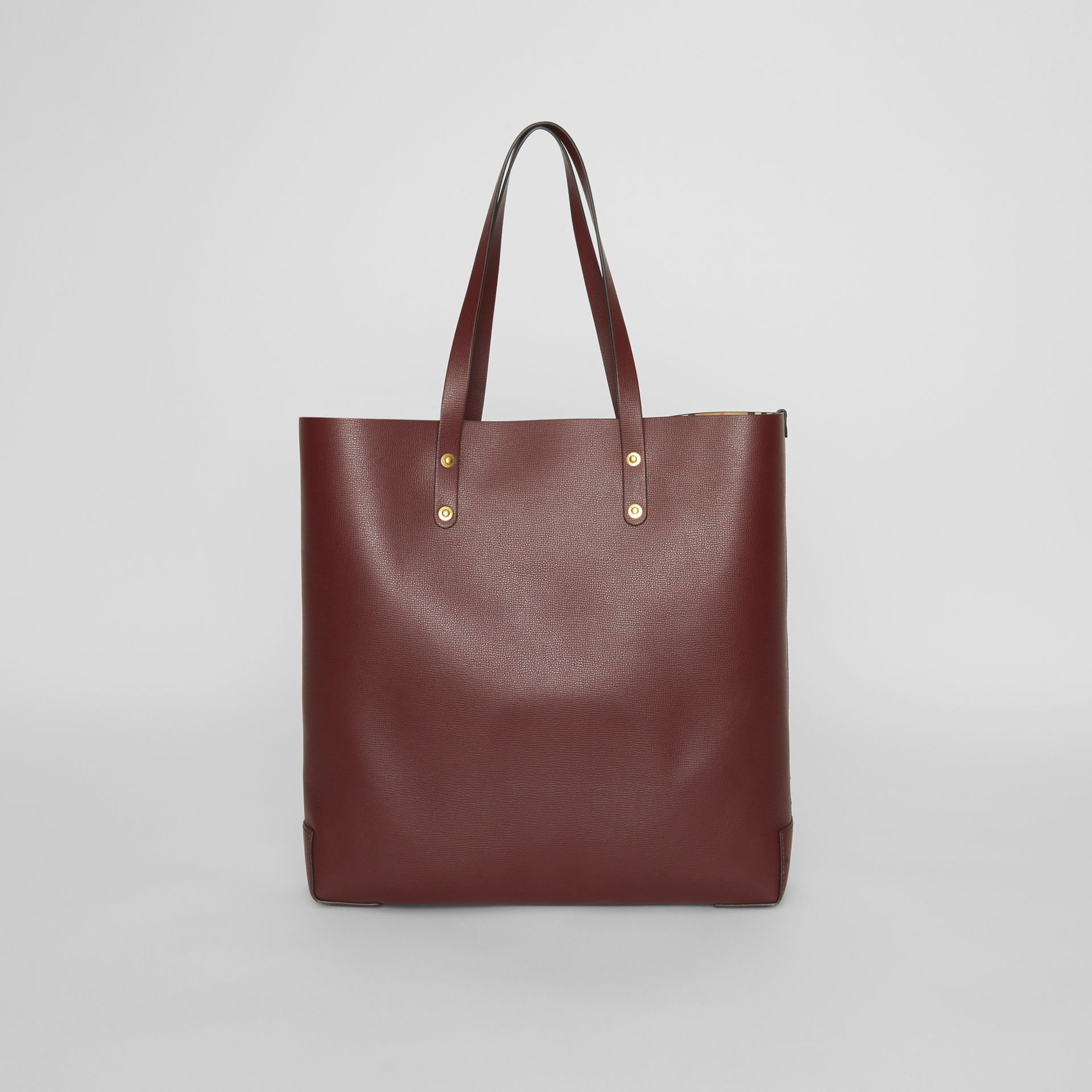 Large Embossed Crest Leather Tote in Burgundy | Burberry Australia - gallery image 7