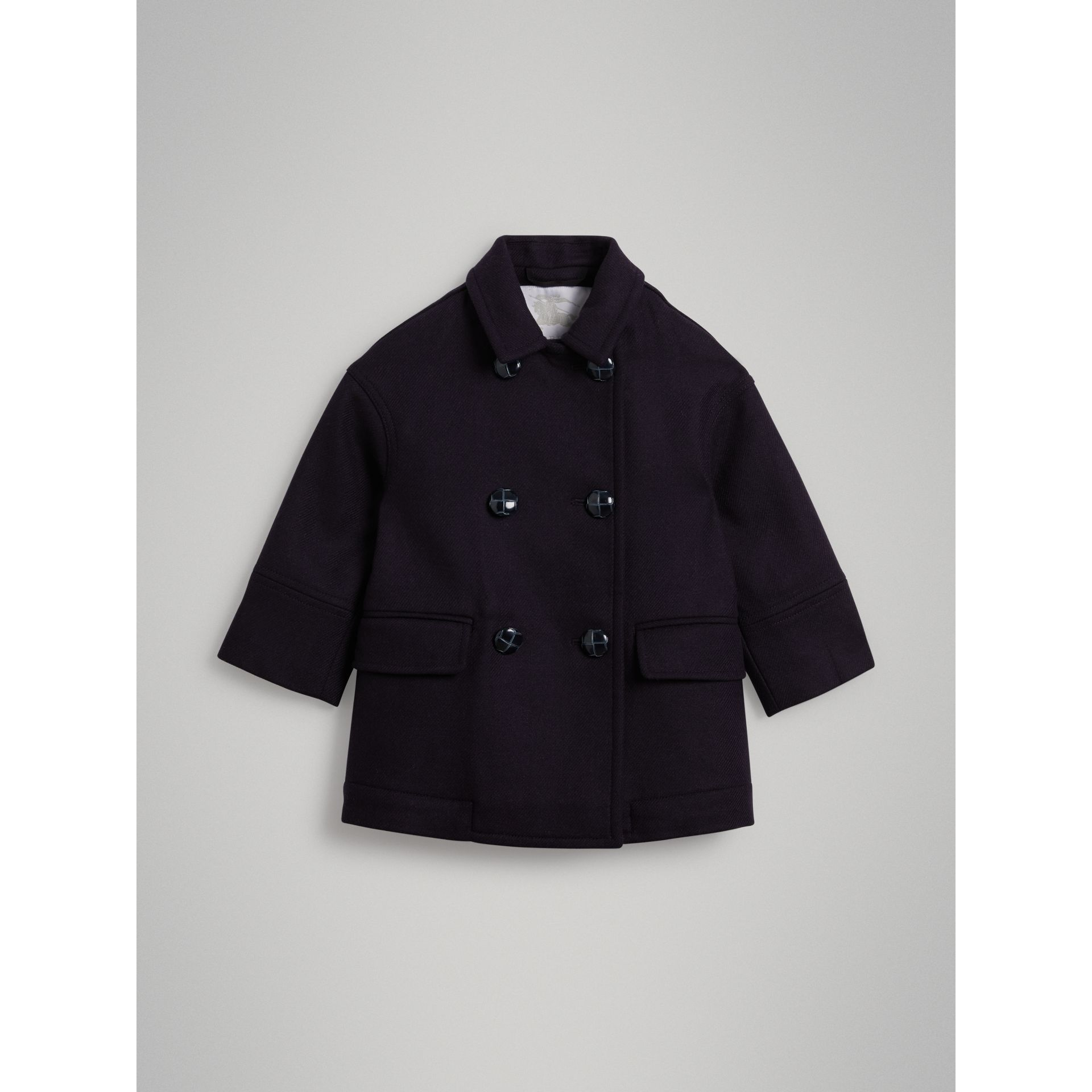 Double-faced Wool Pea Coat in Navy - Girl | Burberry - gallery image 0