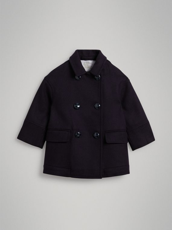 Pea coat in lana double face (Navy)