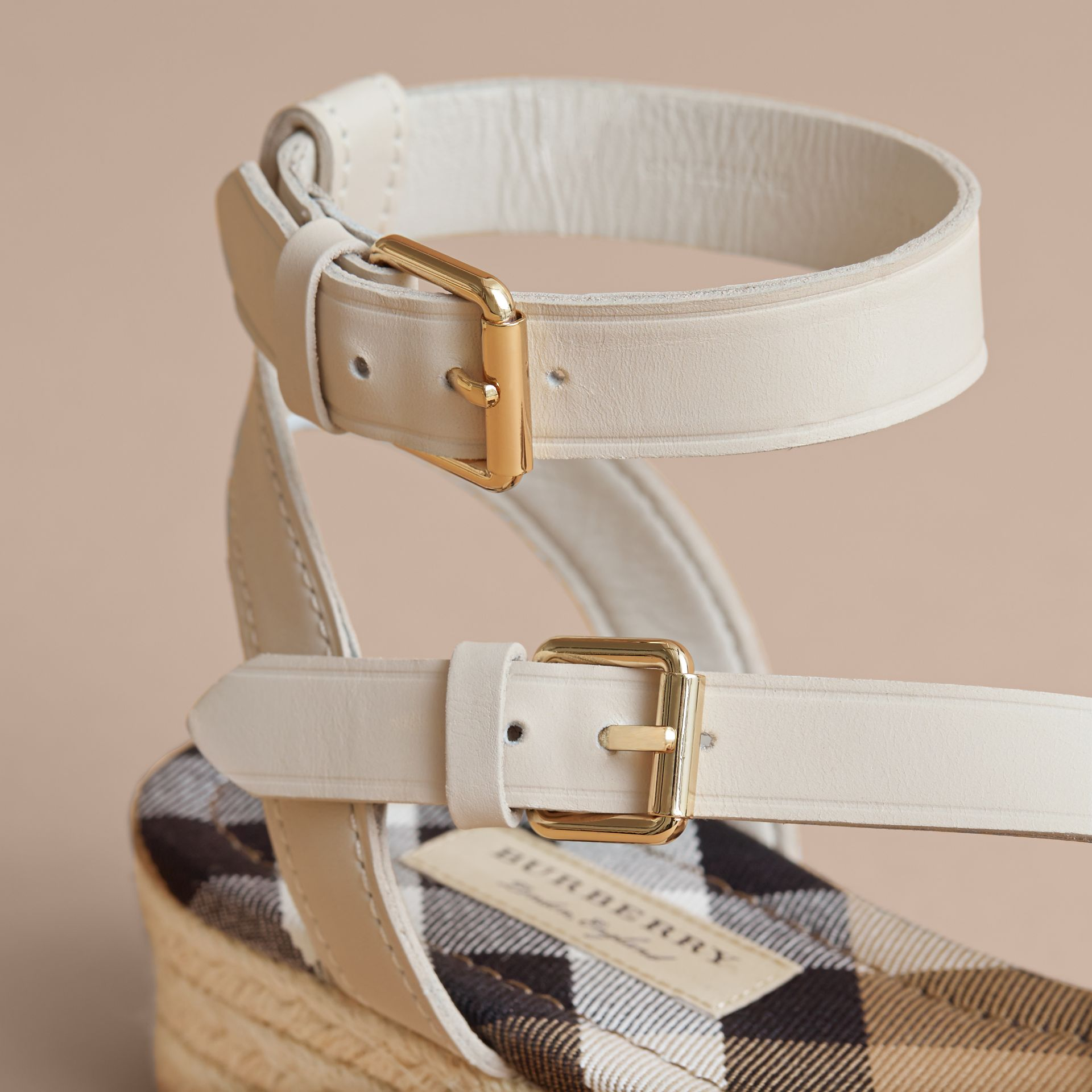 Leather and House Check Espadrille Sandals in Off White - Women | Burberry - gallery image 4
