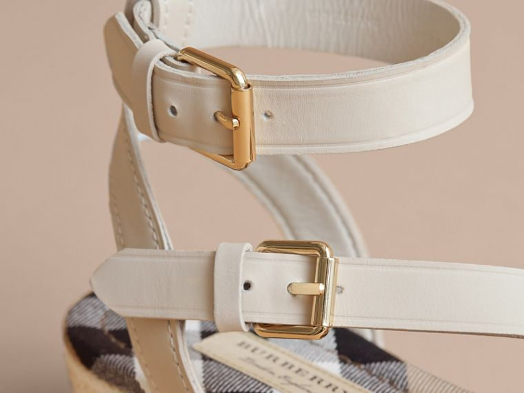 Leather and House Check Espadrille Sandals in Off White - Women | Burberry - cell image 4