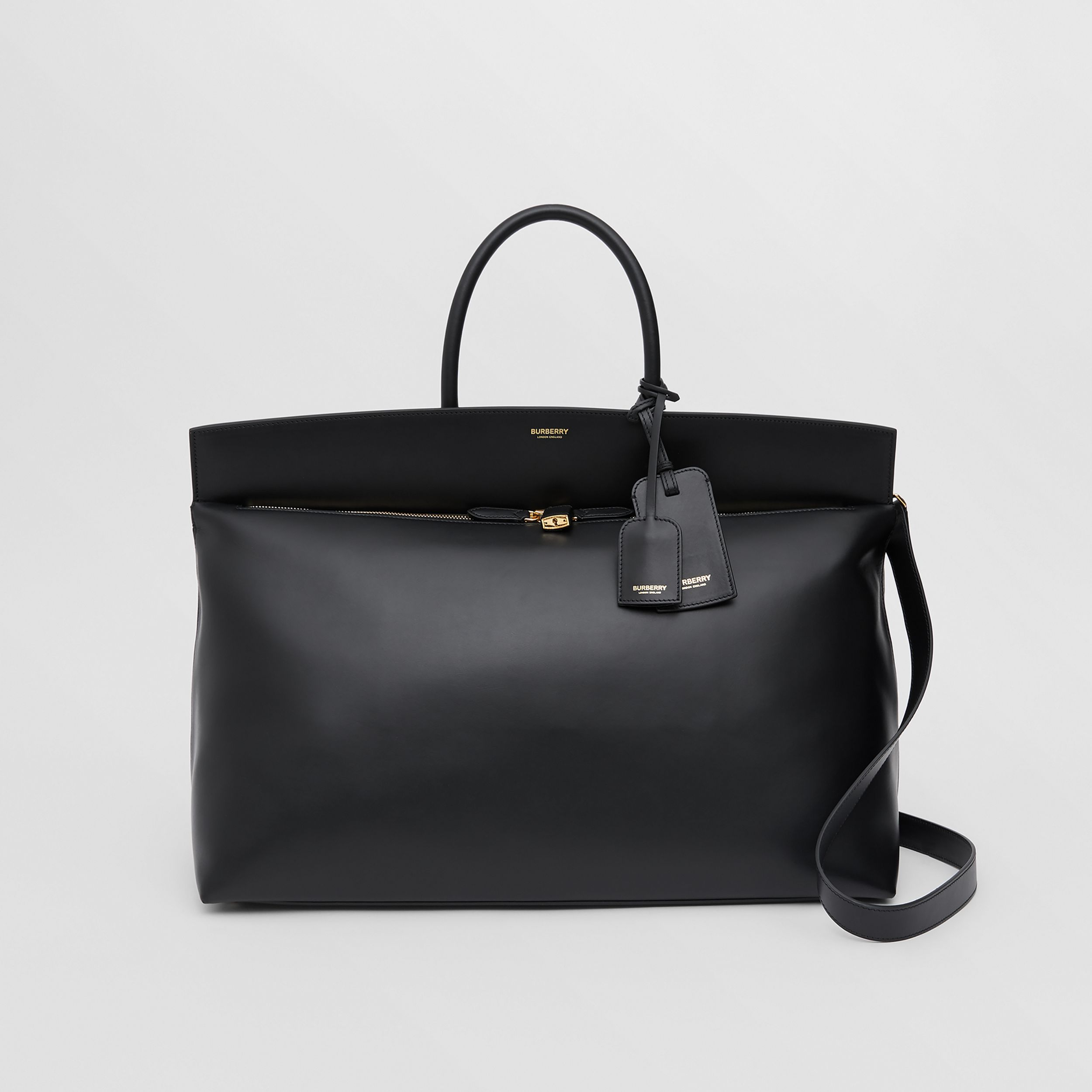 Extra Large Leather Society Top Handle Bag in Black | Burberry - 1
