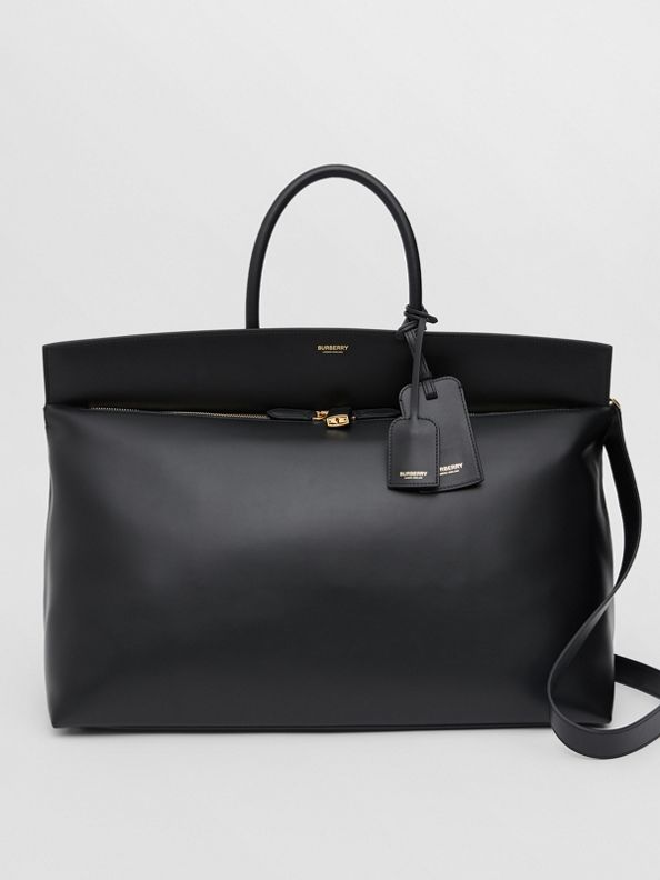 Extra Large Leather Society Top Handle Bag in Black