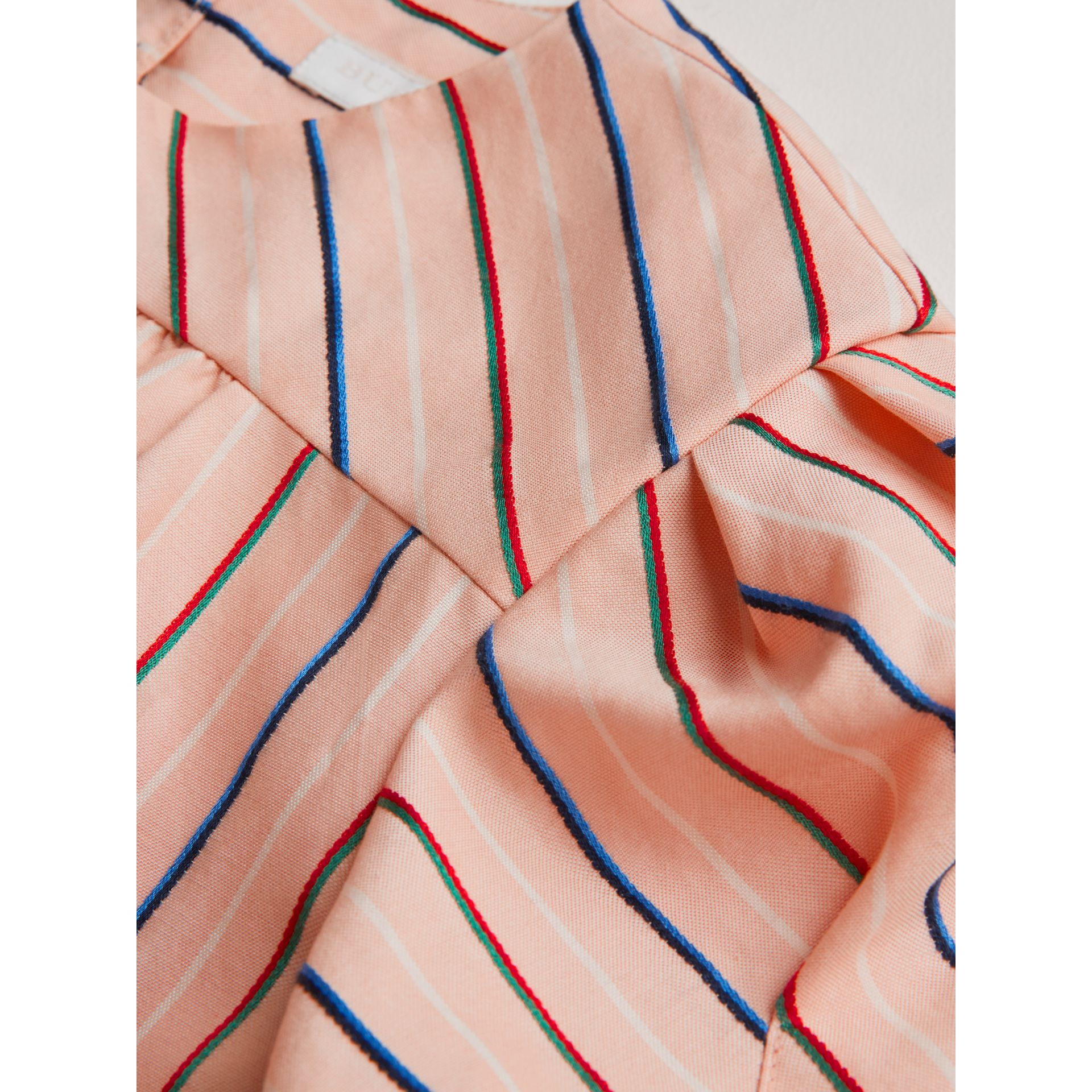 Striped Cotton Silk Panelled Dress in Pale Pink | Burberry - gallery image 1