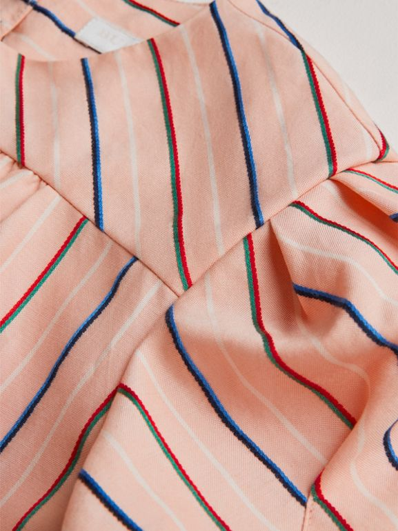 Striped Cotton Silk Panelled Dress in Pale Pink | Burberry - cell image 1