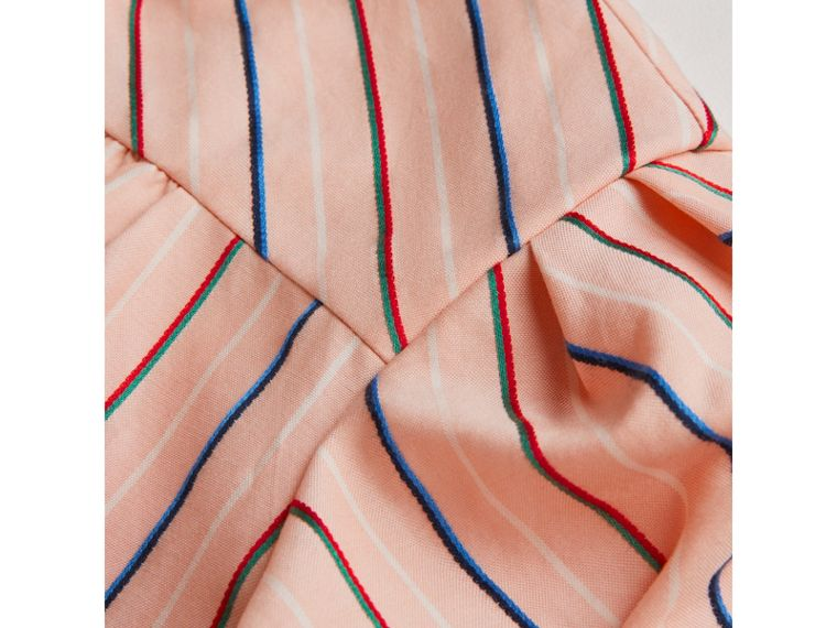 Striped Cotton Silk Panelled Dress in Pale Pink - Girl | Burberry - cell image 1